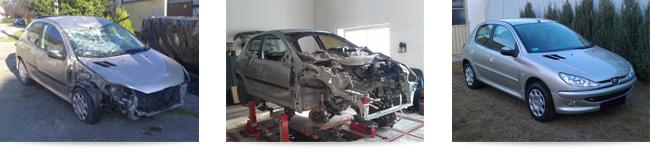 Karambolos gépkocsi javítási folyamata
